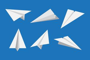 Papieren vliegtuig of origami vliegtuig icon set - vectorillustratie