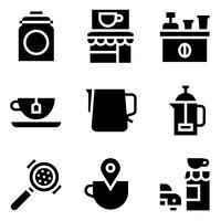 Conjunto de iconos vectoriales relacionados con café, sólido stye