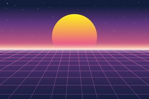 Vector illustration of sun and digital landscape in retro futuristic background 1980s style
