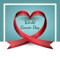 Vector ribbon in the shape of heart. World Cancer Day. Valentine s Day