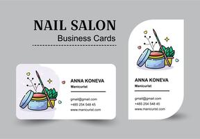 Vector flat set of business cards for nail salon in a linear style.