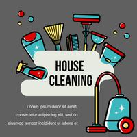 Vector background of accessories for cleaning in a flat style.