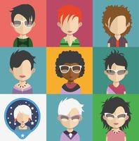 Set of people avatars with backgrounds vector