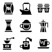 Café associé icon set vector, solide stye