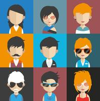 Set of people avatars with backgrounds