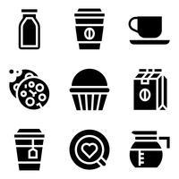 Café relacionados vector icon set, sólido chiqueiro