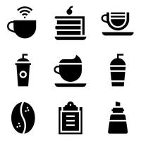 Kaffe relaterad vektor ikonuppsättning, solid stye