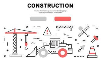Banner di progettazione linea piatta di costruzione e pagina di destinazione. Illustrazione per lo sviluppo di siti Web
