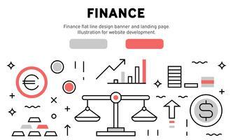 Bandeira de design de linha plana de finanças e página de destino. Ilustração para desenvolvimento de sites