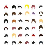 Set of people hairstyle avatars with backgrounds