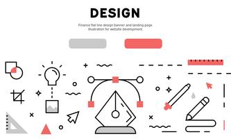 Banner de design de linha plana de Design gráfico e página de destino. Ilustração para desenvolvimento de sites