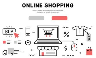 Online Shopping flat line design banner and landing page. Illustration for website development