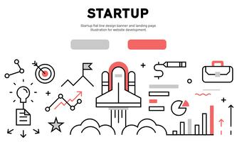 Startup flat line design banner and landing page. Illustration for website development