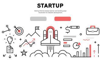 Startup flat line design banner and landing page. Illustration for website development