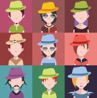 Set di avatar di persone con sfondi