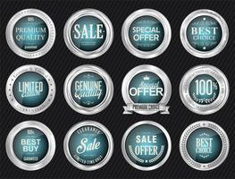Luxus Premium Silber Abzeichen und Etiketten