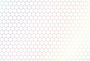 Teste padrão sem emenda dos hexágonos coloridos abstratos no fundo e na textura brancos.