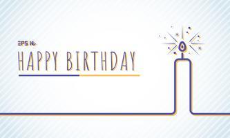 De groetkaart van de malplaatje gelukkige Verjaardag met kaars blauwe lijn op de achtergrond van de pastelkleurenkleur.