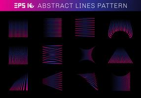Set of abstract lines pattern elements blue and pink color on black background.