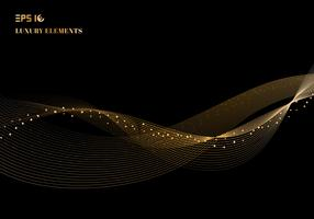 Abstract shiny color sparkling gold wave design element with glitter effect on dark background luxury concept