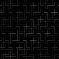 Abstract repeating plus pattern silver color geometric on black background.