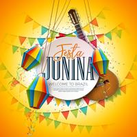 Festa Junina Illustration with Acoustic Guitar, Party Flags and Paper Lantern on Yellow Background. Typography on Vintage Wood Table. Vector Traditional Brazil June Festival Design