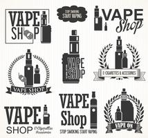 Elements pour la collection de cigarettes électroniques Vapor Bar and Vape Shop vecteur