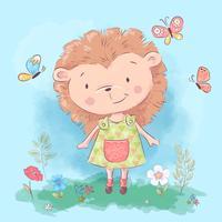 Postcard cute hedgehog flowers and butterflies. Cartoon style. Vector