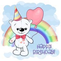 Postcard cute white teddy bear on the background of the rainbow and balloon. Cartoon style. Vector