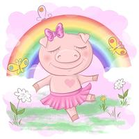 Illustration of a cute pig cartoon on a rainbow background. Vector