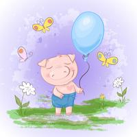 Postcard cute, pig with a balloon flowers and butterflies. Cartoon style. Vector