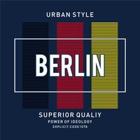 Vektor illustration på ett tema av BERLIN. Typografi, t-shirt grafik