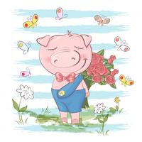 Postcard cute pig flowers and butterflies. Cartoon style vector
