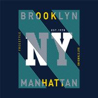 Vectorillustratie op het thema in New York, Brooklyn. Typografie
