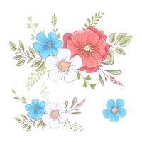 Set av vildblommor och fjärilar. Handritning. Vektor illustration