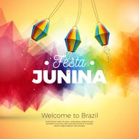 Festa Junina Illustration with Paper Lantern onAbstract Background. Vector Brazil June Festival Design for Greeting Card, Invitation or Holiday Poster.