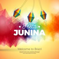 Ilustración de Festa Junina con linterna de papel en el fondo abstracto. Vector Brasil Diseño Festival de junio para la tarjeta de felicitación, invitación o cartel de vacaciones.