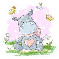 Postcard cute, Hippo flowers and butterflies Cartoon style. Vector