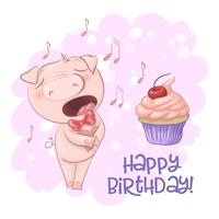 Postcard cute singing pig with a cupcake and notes. Cartoon style. Vector
