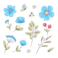Set of wildflowers and butterflies. Hand drawing. Vector illustration