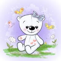 Postcard cute polar bear flowers and butterflies. Cartoon style