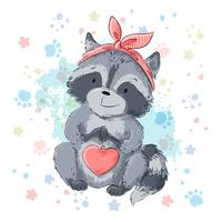 Postcard cute raccoon with heart. Cartoon style Vector