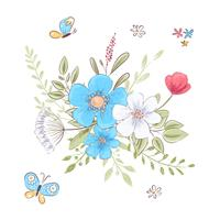 Conjunto de flores silvestres e borboletas. Desenho à mão. Ilustração vetorial