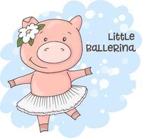 Illustration av en gullig tecknad gris på en blå bakgrund. Vektor