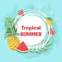 Poster cocktail ice cream and tropical fruits. Vector illustration