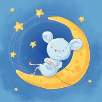 Illustration of a cute cartoon mouse on the moon night sky and stars. Vector