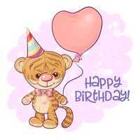 Illustration of a cute cartoon tiger cub with balloons. Vector