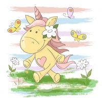 Postcard cute unicorn flowers and butterflies. Cartoon style