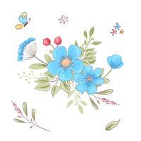 Ensemble de fleurs sauvages et de papillons. Dessin à main levée. Illustration vectorielle