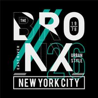 Bronx Ny City Cool, fantastisk typografi tee design vektor illustration